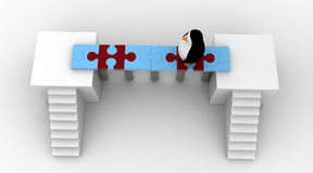 3d penguin walking on bridge of puzzle pieces concept Royalty Free Stock Images