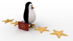 3d penguin walking on stars with briefcase concept Stock Image