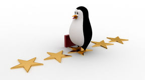 3d penguin walking on stars with briefcase concept Royalty Free Stock Photo