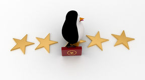 3d penguin walking on stars with briefcase concept Royalty Free Stock Photos