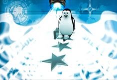 3d penguin walking on stars with briefcase illustration Royalty Free Stock Images