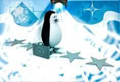 3d penguin walking on stars with briefcase illustration Royalty Free Stock Image
