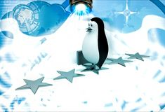 3d penguin walking on stars with briefcase illustration Stock Image