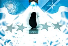 3d penguin walking on stars with briefcase illustration Royalty Free Stock Photography