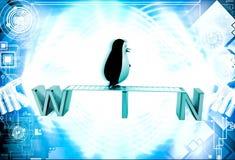 3d penguin walking on win text illustration Stock Image