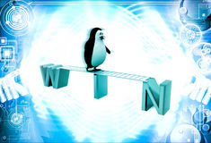 3d penguin walking on win text illustration Royalty Free Stock Image