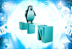 3d penguin walking on win text illustration Royalty Free Stock Images