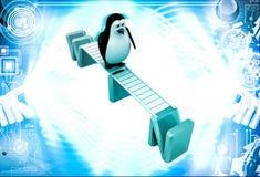 3d penguin walking on win text illustration Stock Photography