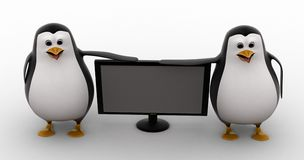 3d penguin watch tv concept Royalty Free Stock Photos