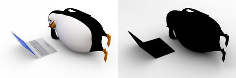 3d penguin watching on laptop screen concept collections with alpha and shadow channel Royalty Free Stock Photography