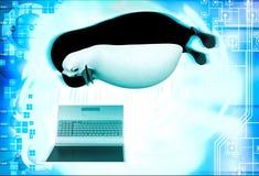 3d penguin watching on laptop screen illustration Royalty Free Stock Photos