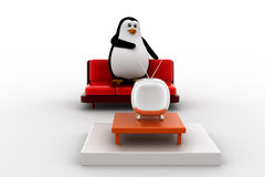 3d penguin watching tv concept Royalty Free Stock Photo