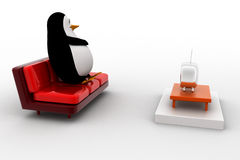 3d penguin watching tv concept Royalty Free Stock Images