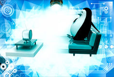 3d penguin watching tv illustration Stock Photography