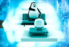 3d penguin watching tv illustration Royalty Free Stock Photography