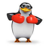 3d Penguin wearing boxing gloves Stock Photos