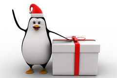 3d penguin wearing hat of santa and with big gift box concept Royalty Free Stock Photo