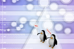 3d Penguin with web hosting banners Illustration Stock Image