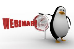 3d penguin with webinar and megaphone Royalty Free Stock Photo