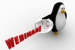 3d penguin with webinar and megaphone Stock Photo
