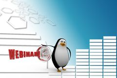 3d penguin with webinar and megaphone Illustration Stock Photos