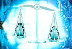 3d penguin in weighing scale to balance weight illustration Royalty Free Stock Photo