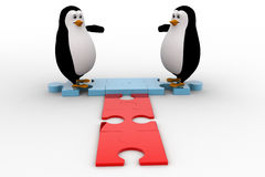 3d penguin welcome and stading on jigsaw puzzle piece concept Royalty Free Stock Photo