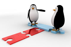 3d penguin welcome and stading on jigsaw puzzle piece concept Royalty Free Stock Image