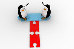 3d penguin welcome and stading on jigsaw puzzle piece concept Stock Images