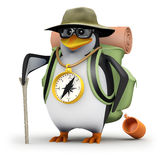 3d Penguin went exploring Royalty Free Stock Photo