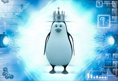 3d penguin wer golden golden crown of king on head illustration Royalty Free Stock Photography