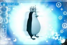 3d penguin wer golden golden crown of king on head illustration Stock Images