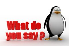 3d penguin with what do you say illustration Royalty Free Stock Photo