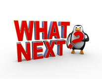 3d penguin with what next question Royalty Free Stock Photos