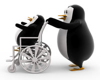3d penguin on wheel chair concept Royalty Free Stock Images