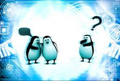 3d penguin whisper in ear of another penguin  illustration Stock Photography