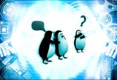 3d penguin whisper in ear of another penguin  illustration Royalty Free Stock Photo