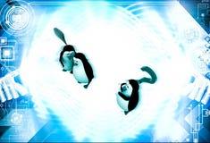 3d penguin whisper in ear of another penguin  illustration Stock Images