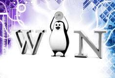 3d penguin with win illustration Stock Photos