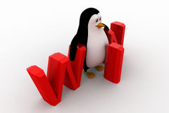 3d penguin with win text concept Stock Photo