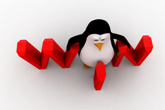 3d penguin with win text concept Stock Images