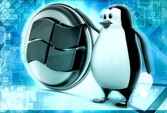 3d penguin windows concepts Stock Photo