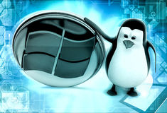 3d penguin windows concepts Royalty Free Stock Image