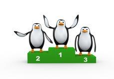 3d penguin on winner podium. 3d illustration of cute happy penguin stood on winner podium winner celebrating Royalty Free Stock Photography