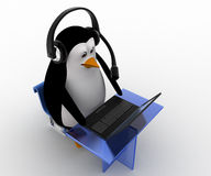 3d penguin working on laptop with headphones in call center concept Stock Images