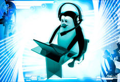 3d penguin working on laptop with headphones in call center illustration Stock Images