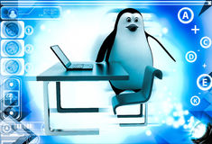 3d penguin working on laptop on office table illustration Royalty Free Stock Photography