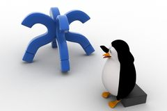 3d penguin worried with four blue question marks concept Royalty Free Stock Photos