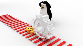 3d penguin worried and looking at dollar symbol which is about to crush by mechanical gear concept Royalty Free Stock Image