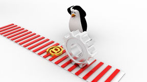 3d penguin worried and looking at email icon symbol which is about to crush by mechanical gear concept Stock Images